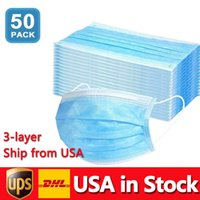 USA in Stock Disposable Masks 50pcs Protection and Personal 3-Layer Facial Cover with Earloop Mouth Face Sanitary Health Mask