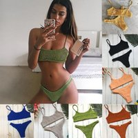Women's Swimwear Sexy Bikini 2021 Beachwear Solid Color Halter Low Waist Swimsuit Summer Beach Set