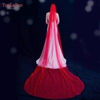 Gelin Peçe Youlapan V89 Peçe Kırmızı Ile Renkli Pearl Katedrali Düğün Barok