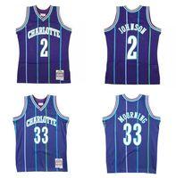 Kundenspezifische genähte Basketball-Jersey Männer Frauen Jugend S-6XL 2 Larry Johnson 33 Alonzo Trauer 1994-95 Hardwoods Classics Retro Trikots