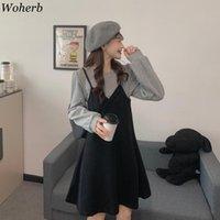 WOHERB Chic Sahte İki Elbise Kadın 2021 Yeni Kore Mizaç Güz Giysileri Robe Vestidos Patchwork Slim Fit Elbiseler Kadın 4G435