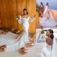 Graceful Lace Mermaid Wedding Dresses Off The Shoulder Neck Beaded Bridal Gowns Long Sleeves Sweep Train Sequined Appliqued Vestido De Novia