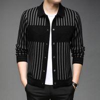 Men's Jackets Brand Original Autumn Winter Men Wool Warm Casual Coats Fashion Patchwork Striped Bomber Jacket Clothing J725