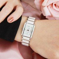 Designer Luxus Marke Uhren Chenxi Elegante Frauen Strass Weiß Silber Einfache Stilvolle Keramik Armband Quarz Casual Lady Handgelenk
