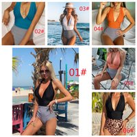 2021 Two-piece Separates swimwear One-piece backless sexy color patchwork cover belly bikini swimsuit woman Swimming equipment swim