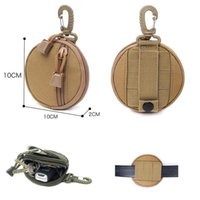Stuff Sacks Tactical Nylon Round Shape Wallet Pouch Card Bag Waterproof Waist Belt Fanny Pack Gadget Purses Key Coin Purse Keychain