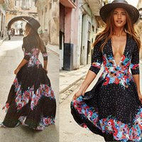Womens Dresses Sexy Women Lady Clothes Dresses Summer Boho Long Maxi Party Beach Long Sleeve Casual Chiffon Dress