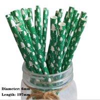 Papel palha padrão de bambu degradável papel descartável partido decoração de Natal cor verde bebida suco palha 100 wwlpn