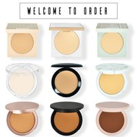 8 Colors Neutral logo-free powder compact oil control and makeup Face compacts repair pressed powders pink black rose gold box free ship 12pcs