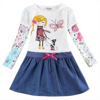 Девушка с длинным рукавом весеннее платье осень хлопок вышитая фигура ребенка носить джинсовый подол h5926