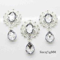 25 pçs / lote claro 25mm * 45mm de prata cristal pingentes acessórios para decoração de casamento broche cabelo curva diy jóias artesanato