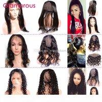Glamorous 360 Lace Frontal com Cap Brazilian Hair 360 Fechamento Corpo Onda Heterossexual Cabelo Humano Frontal 22x4x3