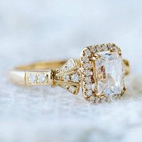 Wedding Rings Exquisite Rose Gold Color Engagement Ring Oval Cz Zircon Crystal Band Art Deco Women Bridal Promise Jewelry