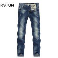 الأزرق الداكن جينز الرجال تمتد ضئيلة مستقيم منتظم صالح الربيع السراويل السراويل الدنيم السراويل الرجال ملابس الرجل جينز أزياء العلامة التجارية 211008