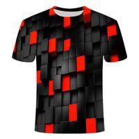 2019 여름 새로운 3DT 티셔츠 망 모 패션 티셔츠 3D 다이아몬드 체크 탑 T 셔츠 힙합 브랜드 망 직접 판매