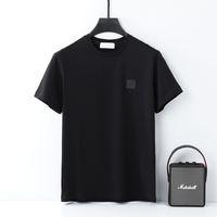 Camisetas de hombre de verano Camisetas de algodón de alta calidad Camiseta de bordado simple Pareja sólida Mangas cortas de la marca de ocio europeo y americano