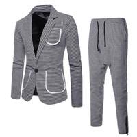 Hommes Corée Suit 2 pièces Slim Cuissards Blazer Business Mariage Jacket Pantalons Blazers Manteau