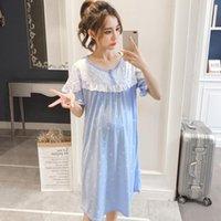 DollPlus amamantando ropa de dormir linda impresión camisón para mujer embarazada Vestido de maternidad Pijamas Embarazo Noche de enfermería