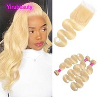 Blonde 613# Color Malaysian 100% Human Hair Wefts With 4*4 Lace Closure 4pcs Body Wave 16-30inch