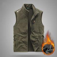 Men's Vests Men 2021 Winter Outwear Thick Warm Fleece Sleeveless Vest Jacket WaistCoat Autumn Outfits Tactical Plus -40