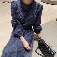 Woherb Temperament Maxi Kleider für Frauen schwere Spitze Gaze Häkeln Floral Slim Taille Vestidos Temperament Kleid mit Gürtel 4G717