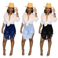 Moda 2021 Calças de Borla Calças Curtas Verão Mulheres Burro Denim Shorts Black Blue Calças Médio Senhoras Meninas Bottom Roupas H2301