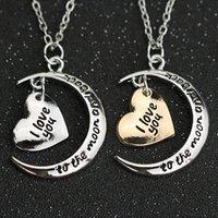 Te amo a la luna y el collar de espalda letras simples corazón amor oro plata colgante joyería de moda para mujeres al por mayor y0301