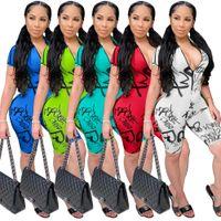 Nuova Vendita Calda Tuta Donne Designer Designer con scollo a V stampato stampato tuta 5 colori manica corta Shorts Pagliaccetti Abbigliamento casual moda