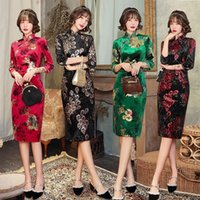 Ethnic Clothing Autunm Winter Velour Embroidery Women Qipao Gorgeous Chinese Traditional Party Dress Long Fork Lady Cheongsam Plus Size 4XL