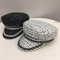 2021 novo moda inverno mulheres chapéus lace aparado tweed xadrez plana top adulto Bed Newsboy Baticle Boy Militar Visão Feminina Cap Zmdz