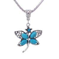 Dragonfly tibétain argent turquoise pendentif colliers de mode cadeau de mode style national femmes hommes bricolage collier pendentifs