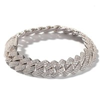 Arrival personalized Gold Bling Diamond Mens Cuban Link Chain Bracelet Iced Out Cubic Zirconia Curb Wristband Jewelry For Guys