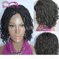 Heißer Verkauf 1b Natürliche schwarze Farbe Kurzer Afro Kinky Twist Tips Synthetische geflochtene Perücken Afrika Amerikaner