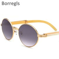Borregls Hohe Qualität Büffelhorn Sonnenbrille Männer Runde Luxus üppig Oval Eyewear Buffs Brillen Sonnenglas 7550178