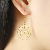 Brincos Mapa Do Mundo De Prata Ouro Aço Inoxidável Dangle Anéis Ear Anéis Mulheres Moda Jóias Will e Sandy