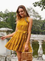 Casual Dresses Women Halter A-line Dress, Adults Summer Beach Style Tie-up Sleeveless Dot Print Sundress (Yellow), S M L XL