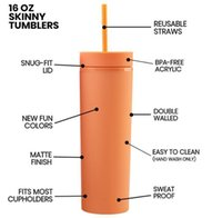 Tumblers 12 Color Stock 16oz Acrylic Skinny Matte Colors Double Wall Water Bottle Coffee Drinking Plastic Tumbler Sippy Cup With Free Straws 24WE