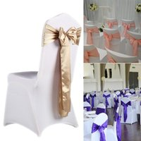 Sashes 10pcs Wedding Satin Chair Party Chairs Bands Gold Pink Knot Cover Bow Ties Decoration For Banquet 15x275cm