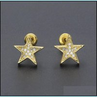 Stud Earrings Jewelry Selling Five Pointed Star Zircon, Anti Allergy Copper Ear Studs, Hip Hop Jewelry For Men And Women Drop Delivery 2021