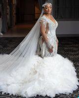 Plus Size Rhinestone Pearls Elegant Mermaid Wedding Dress Tiered Ruffles Robe De Mariee Custom Made Long Sleeves Floor Length V Neck Boho Bride Gown