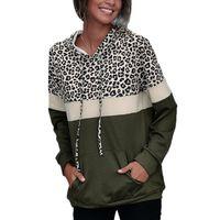 Women's Hoodies & Sweatshirts Womens Causal Sweatshirt Leopard Print Patchwork Pullover Female Loose Jumper Pocket Tops Ladies Fashion Hoodi