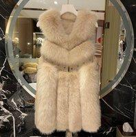 Faux Fox Fur Shawl Winter New Mid Long Women's Vest Hairy Vest Hairy Coat Women Vest Sleeveless Cardigan