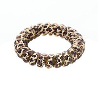 2021 Women Girl Telephone Wire Cord Gum Coil Hair Ties Girls Elastic Hair Bands Ring Rope Leopard Print Bracelet Stretchy Hair Ropes