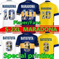مارادونا لكرة القدم جيرسي بوكا جونيورز الطباعة الخاصة الرابعة Maradona الرجعية Batistuta 20 21 Camisetas de Fútbol مراوح لاعب الإصدار 4th