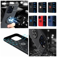 Support Magnetic Car Mount Cases For Iphone 13 Mini 12 11 Pro XR XS MAX 8 7 6 6S SE 5 5S Cover Soft TPU Car Holder Metal Finger Ring Bracket Luxury Defender Phone Back Coque