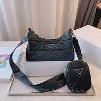 2pcs 2021 디자이너 Luxurys Hobo 가방 부드러운 양 가죽 여성 크로스 바디 가방 다이아몬드 황금 체인 고품질 패션 지갑 하이 엔드 어깨 토트 백