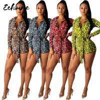 Echoine Guepardo Leopardo Playa de leopardo para mujeres Sexy Bodycon Cuerpo Traje de Body Down Down Cuello Manga Larga Impreso Romper Monrelas Cinturón