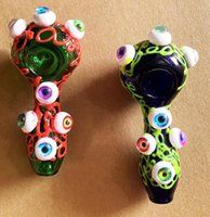 Colorful Glass Smoking Pipe Spoon Eyes Luminous Hand Tobacco Cigarette Oil Burner Pipes 2 colors holder Tool Accessories Rigs