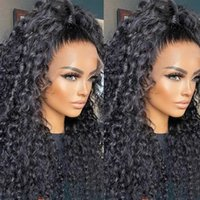 Dark Brown Natural Black Heat Resistant Synthetic Lace Front Wig Glueless 26inch Long Kinky Curly Wig Daily Wear For Black Women