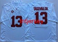 Barato O alabama novo feito sob encomenda do alabama do alabama do alabama branco # 13 Tagovailoa Jersey do futebol Homens Mulheres da juventude Adicionar qualquer nome número XS-5XL